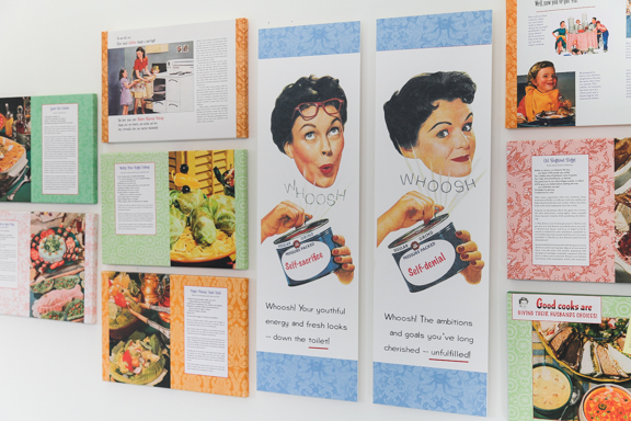 Secret Recipes for the Modern Wife wall installation detail © 2014-2015 by Nava Atlas