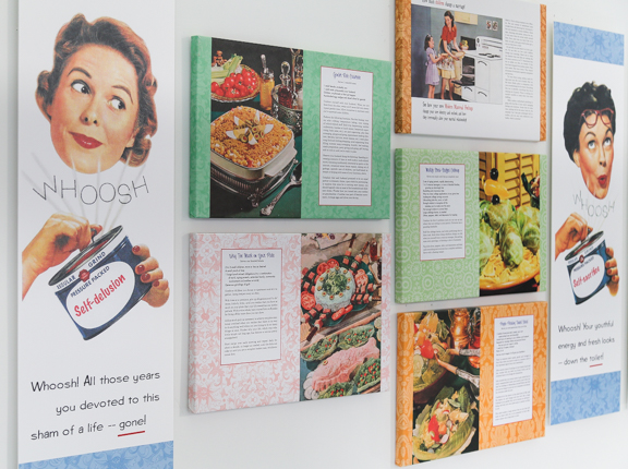 Secret Recipes for the Modern Wife wall installation by Nava Atlas